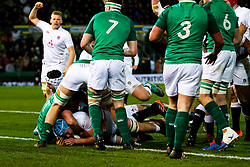 George Hammond of England U20 scores a try - Rogan/JMP - 21/02/2020 - Franklin's Gardens - Northampton, England - England U20 v Ireland U20 - Under 20 Six Nations.