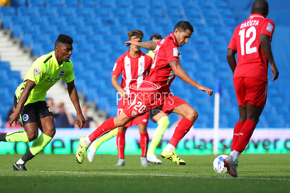 Vitolo of Sevilla shoots at goal during the Pre-Season Friendly match between Brighton and Hove Albion and Sevilla at the American Express Community Stadium, Brighton and Hove, England on 2 August 2015. Photo by Phil Duncan.