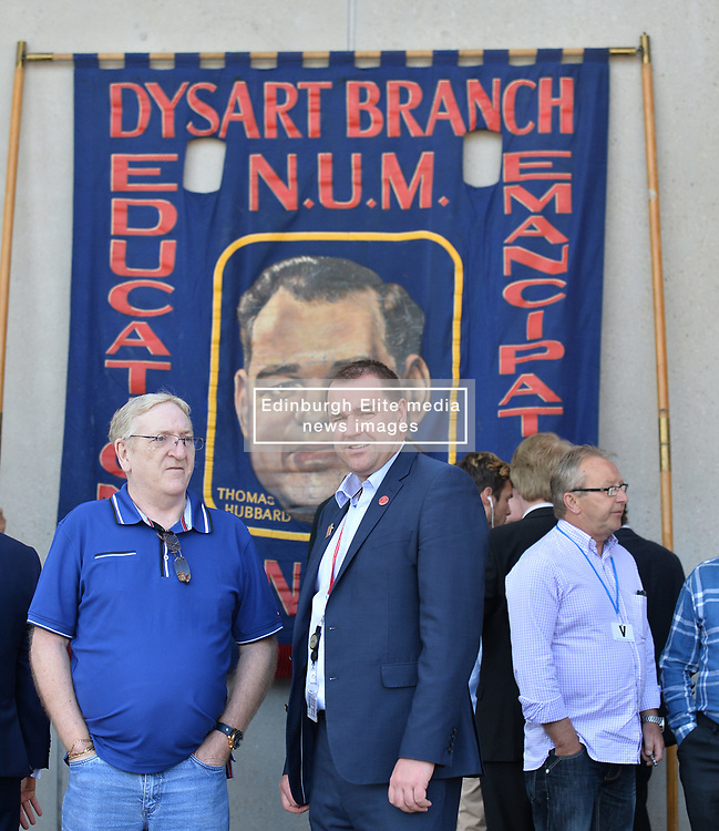 Pictured: Neil Findlay MSP is joined by ex miner Frank Sutton from Dalkeith in celebrating the announcement.<br /> <br /> Justice Secretary Michael Matheson announced and independent inquiry into policing tactics and policy during the 1884/ EEm