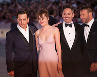 Actor Johnny Depp, actress Dakota Johnson, director Scott Cooper and Joel Edgerton at the gala screening for the film Black Mass at the 72nd Venice Film Festival, Friday September 4th 2015, Venice Lido, Italy.