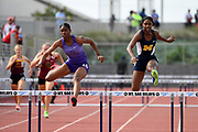 May 19, 2018; Torrance, CA, USA; Atkinson Asjah of St. Anthony (left) defeats Micah Fulton of Muir to win the Division IV girls 300m hurdles, 44.44 to 44.66, during the CIF Southern Section Finals  at El Camino College.