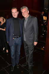 Left to right, ROBERT HANSON and DANNY HUSTON at the Launch Of Alain Ducasse's Rivea Restaurant At The Bulgari Hotel, 171 Knightsbridge, London on 8th May 2014.