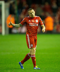 05.11.2011, Anfield Stadion, Liverpool, ENG, Premier League, FC Liverpool vs Swansea City, im Bild Liverpool's Craig Bellamy walks off dejected after the goal-less draw against Swansea City  // during the premier league match between FC Liverpool vs Swansea City at Anfield Stadium, Liverpool, EnG on 05/11/2011. EXPA Pictures © 2011, PhotoCredit: EXPA/ Propaganda Photo/ David Rawcliff +++++ ATTENTION - OUT OF ENGLAND/GBR+++++