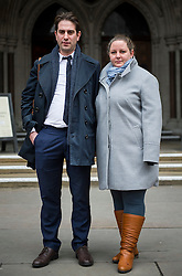 "© Licensed to London News Pictures. 29/01/2016. London, UK. Heterosexual couple CHARLES KEIDAN and REBECCA STEINFELD leave the Royal Courts of Justice in London, where they have lost their High Court battle to have a civil partnership.. The couple, who are both academics and live in London, argued that the Government's position on civil partnerships is ""incompatible with equality law"".  Photo credit: Ben Cawthra/LNP"