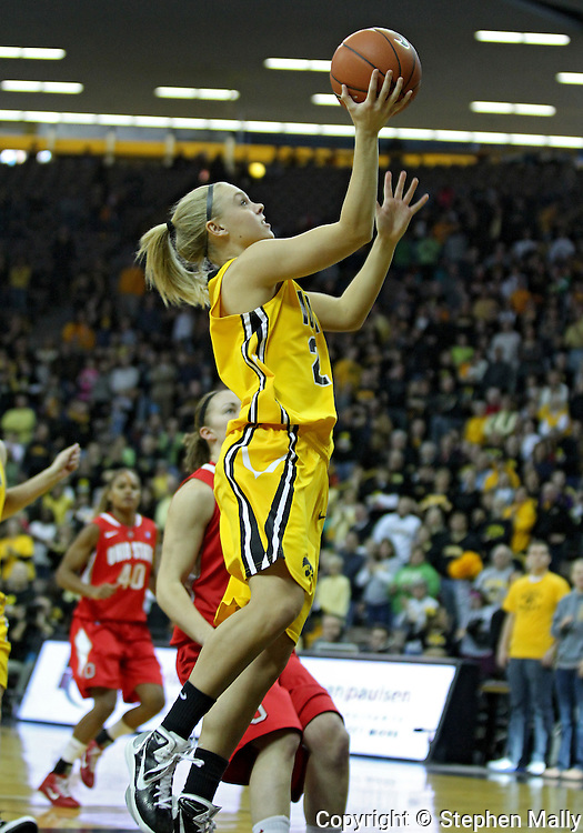 January 08 2010: Iowa guard Jaime Printy (24) puts up a shot during the first half of an NCAA womens college basketball game at Carver-Hawkeye Arena in Iowa City, Iowa on January 08, 2010. Iowa defeated Ohio State 89-76.
