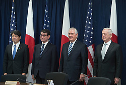 From left to right, Itsunori Onodera, Minister of Defense for Japan; Taro Kono, Minister of Foreign Affair for Japan; Secretary of State Rex Tillerson; and Secretary of Defense Jim Mattis pose for a group photo Aug. 16, 2017, at the State Department in Washington, D.C., ahead of a U.S.-Japan Security Consultative Committee meeting. (DOD photo by Air Force Tech. Sgt. Brigitte N. Brantley)