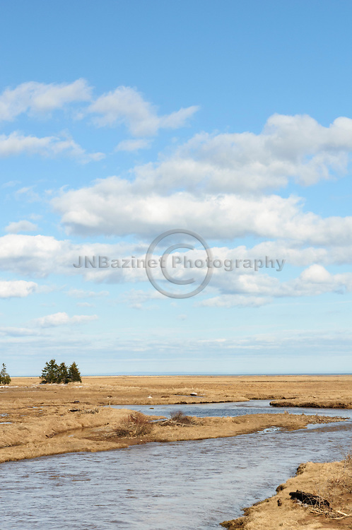 A stream courses through marsh in the springtime - St. Martins New Brunswick, Canada