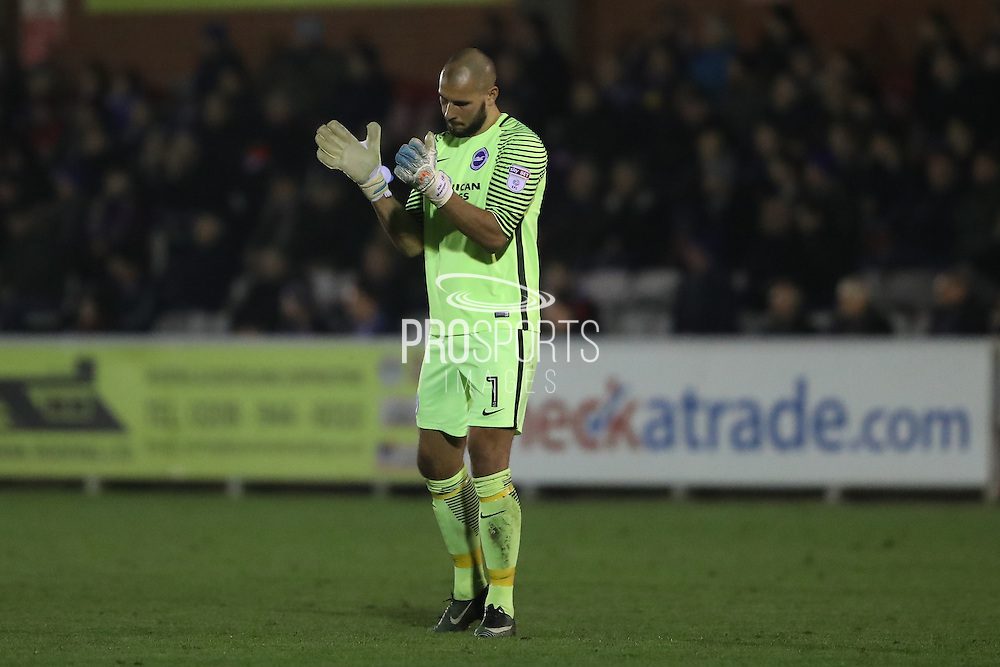 Brighton & Hove Albion goalkeeper Niki Maenpaa (1) applauds Brighton & Hove Albion striker Richie Towell (29) penalty  during the EFL Trophy match between AFC Wimbledon and U23 Brighton and Hove Albion at the Cherry Red Records Stadium, Kingston, England on 6 December 2016. Photo by Stuart Butcher.