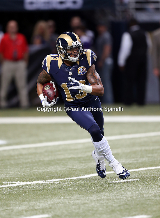 St. Louis Rams wide receiver Chris Givens (13) runs with the ball during the NFL week 15 football game against the Minnesota Vikings on Sunday, Dec. 16, 2012 in St. Louis. The Vikings won the game 36-22. ©Paul Anthony Spinelli