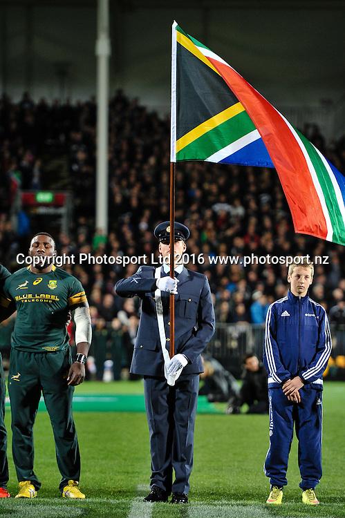 Flag Bearer during the Investec Rugby Championship match, All Blacks v South Africa ,AMI Stadium, Christchurch, New Zealand, 17th September 2016. © Copyright Photo: John Davidson / www.photosport.nz