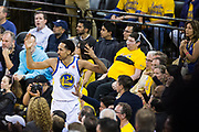 Golden State Warriors guard Shaun Livingston (34) reacts to a foul called on him during Game 6 of the Western Conference Finals against the Houston Rockets at Oracle Arena in Oakland, Calif., on May 26, 2018. (Stan Olszewski/Special to S.F. Examiner)