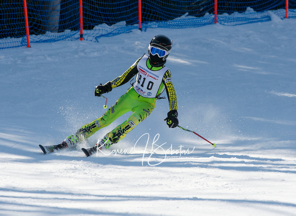 Piche Invitational giant slalom at Gunstock.  U12 mens 1st run.  ©2014 Karen Bobotas Photographer