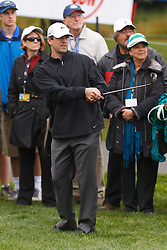 Feb 11, 2012; Pebble Beach CA, USA; Green Bay Packers quarterback Aaron Rodgers hits his second shot on the third hole during the third round of the AT&T Pebble Beach Pro-Am at Pebble Beach Golf Links. Mandatory Credit: Jason O. Watson-US PRESSWIRE