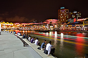 Nightlife along Singapore River. Clarke Quay.