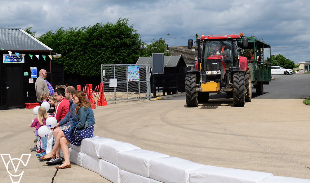 As part of Open Farm Sunday, May Park's Barr Farm in Billinghay, Lincolnshire, was open to the public.  Pictured is a tractor and trailer arriving brining guest into the event from the car park.<br /> <br /> PIcture: Chris Vaughan Photography<br /> Date: May 21, 2017