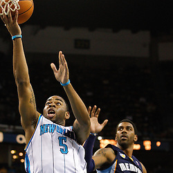January 19, 2011; New Orleans, LA, USA; New Orleans Hornets guard Marcus Thornton (5) shoots against the Memphis Grizzlies during the fourth quarter at the New Orleans Arena. The Hornets defeated the Grizzlies 130-102 in overtime.  Mandatory Credit: Derick E. Hingle