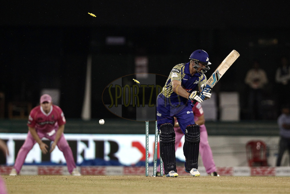 Stiaan van Zyl of Cape Cobras bowled by Trent Boult of the NORTHERN KNIGHTS during match 3 of the Oppo Champions League Twenty20 between the Cape Cobras and the Northern Knights held at the Chhattisgarh International Cricket Stadium, Raipur, India on the 19th September 2014<br /> <br /> Photo by:  Deepak Malik / Sportzpics/ CLT20<br /> <br /> <br /> Image use is subject to the terms and conditions as laid out by the BCCI/ CLT20.  The terms and conditions can be downloaded here:<br /> <br /> http://sportzpics.photoshelter.com/gallery/CLT20-Image-Terms-and-Conditions-2014/G0000IfNJn535VPU/C0000QhhKadWcjYs