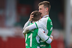 WREXHAM, WALES - Monday, May 2, 2016: The New Saints' Scott Quigley celebrates scoring the second goal against Airbus UK Broughton with team-mate Adrian Cieslewicz during the 129th Welsh Cup Final at the Racecourse Ground. (Pic by David Rawcliffe/Propaganda)