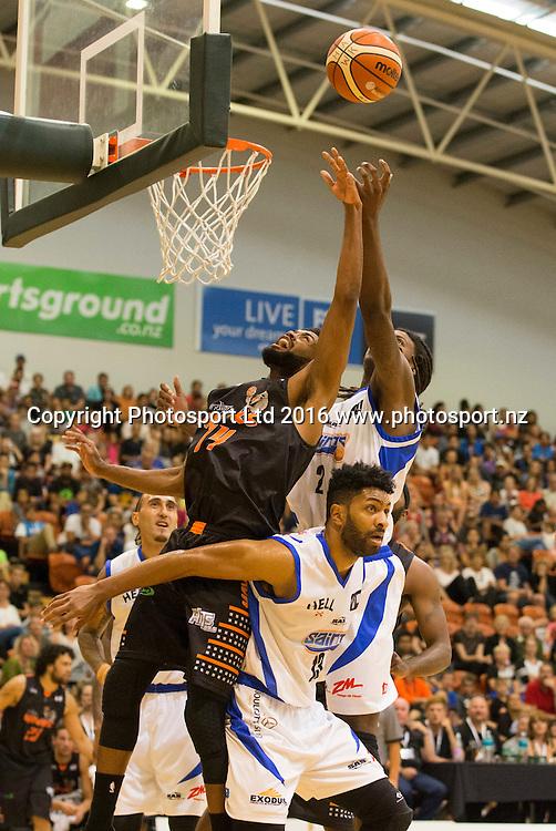 Hawk's Alonzo Burton shoots under pressure. Hawkes Bay Hawks v Wellington Saints,NBL basketball, PG Arena, Napier, New Zealand. Sunday, 13 March 2016. Copyright photo: John Cowpland / www.photosport.nz