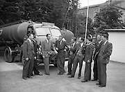 25/06/1955<br /> 06/25/1955<br /> 25 June 1955<br /> Irish Shell depot at Kells, Co. Meath. Staff and Bedford S Type tractor unit fitted with a Scammell automatic coupling and a Thompson of Bilston manufactured tank trailer.
