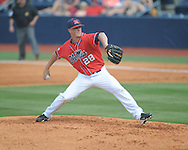 Ole Miss' Make Mayers pitches against Mississippi State at Oxford-University Stadium  in Oxford, Miss. on Saturday, May 11, 2013. Mississippi won the first game of a double header 3-0.