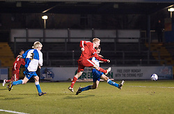 BRISTOL, ENGLAND - Thursday, January 15, 2009: Liverpool's Lauri Dalla Valle scores the second goal against against Bristol Rovers during the FA Youth Cup match at the Memorial Stadium. (Mandatory credit: David Rawcliffe/Propaganda)