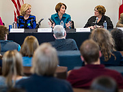 04 MAY 2019 - DES MOINES, IOWA: US Senator AMY KLOBUCHAR (D-MN), center, participates in a roundtable discussion of substance abuse and addiction on the Drake University campus Saturday. Sen. Klobuchar has made fighting substance abuse and addiction a cornerstone of her campaign. Sen. Klobuchar is touring Iowa Saturday to support her bid for the Democratic nomination of for the US Presidency in the 2020 election. Iowa traditionally hosts the the first election event of the presidential election cycle. The Iowa Caucuses will be on Feb. 3, 2020.         PHOTO BY JACK KURTZ
