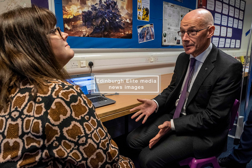 Pictured: July Jamison from Education Scotland outlined the on-line access to the project to Mr Swinney<br /><br />The Deputy First Minister and Education Secretary visited the Royal High School in Edinburgh today and met students and staff to learn about a school library project aimed at tackling mental health issues.<br /><br />Ger Harley | EEm 10 October 2019