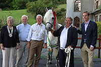 Chaiman of the ISA( Irish Shows Assoc) Dorothy Lazenby with Bobby Bolger, Ballyconneelly, GerardKing President of the Chamber of Commerce in Clifden, Dolan Mick, Supreme Champion and Owner Paddy Connolly, and RTE's Ryan Tubridy  at the launch of the Connemara Pony Show  in the Abbeyglen Castle Hotel in Clifden. The Connemara Pony Show  is to be held on the 16th August  in Clifden. Photo:Andrew Downes. Photo issued with Compliments, No reproduction fee.