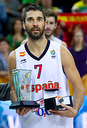 MVP player of the tournament Juan Carlos Navarro of Spain at medal ceremony after the final basketball game between National basketball teams of Spain and France at FIBA Europe Eurobasket Lithuania 2011, on September 18, 2011, in Arena Zalgirio, Kaunas, Lithuania. Spain defeated France 98-85 and became European Champion 2011. (Photo by Vid Ponikvar / Sportida)