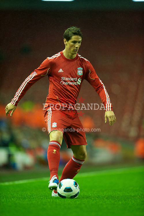 LIVERPOOL, ENGLAND - Thursday, August 19, 2010: Liverpool's Fernando Torres in action against Trabzonspor during the UEFA Europa League Play-Off 1st Leg match at Anfield. (Pic by: David Rawcliffe/Propaganda)