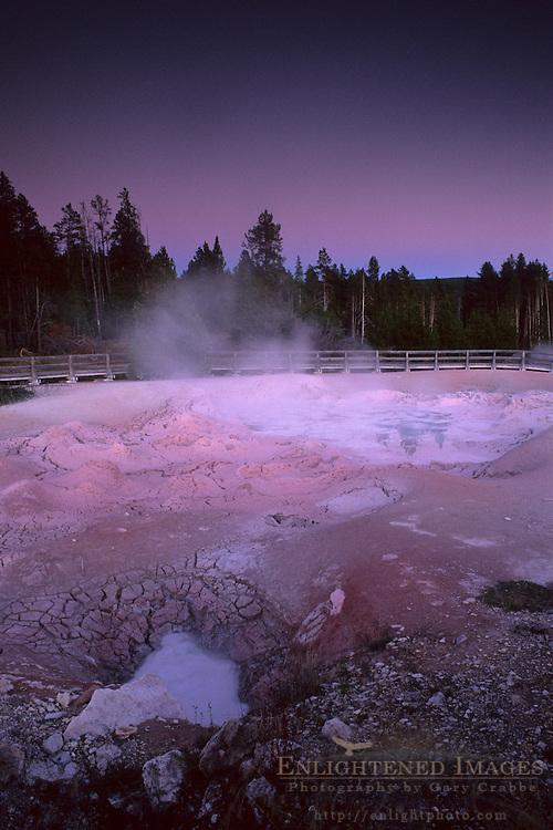 Fountain Paint Pot at twilight, Fountain Paint Pot area, Yellowstone National Park, MONTANA