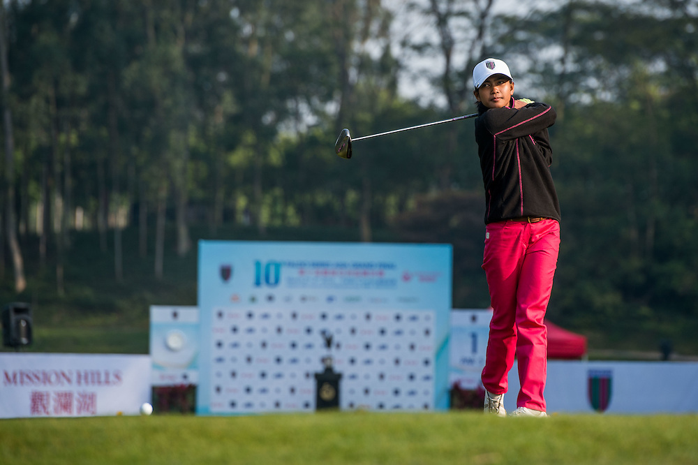 Tevy Sareoun of Cambodia in action during day one of the 10th Faldo Series Asia Grand Final at Faldo course in Shenzhen, China. Photo by Xaume Olleros.
