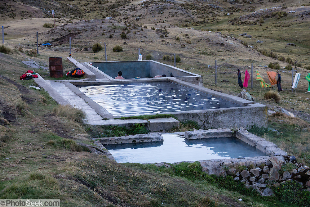 Hot springs (agua termal) pools. Day 4 of 9 days trekking around the Cordillera Huayhuash in the Andes Mountains, Peru, South America.