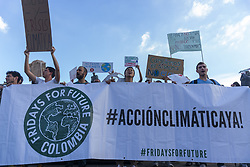 May 24, 2019 - Bogota, Colombia - Hundreds of people met in the Plaza de Bolivar in Bogota, Colombia, on 24 May 2018 to support the global march for climate and environmental impact. (Credit Image: © Daniel Garzon Herazo/NurPhoto via ZUMA Press)