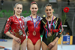05-04-2015 SLO: World Challenge Cup Gymnastics, Ljubljana<br /> Winner Eythora Thorsdottir of Netherland, second place for Isabela Maria Onyshko of Canada and third place for Ayelen Tarabini of Argentina in Floor Exercise during Final of Artistic Gymnastics World Challenge Cup Ljubljana, on April 5, 2015 in Arena Stozice, Ljubljana, Slovenia. Photo by Morgan Kristan / RHF Agency