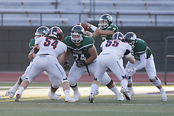 {BLOOMINGTON, IL: Jack Moroni and Brandon Bauer during a college football game between the IWU Titans  and the Wheaton Thunder on September 15 2018 at Wilder Field in Tucci Stadium in Bloomington, IL. (Photo by Alan Look)