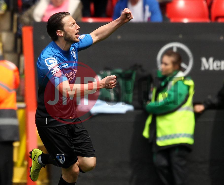 Bournemouth's Harry Arter celebrates his first half goal - Photo mandatory by-line: Robbie Stephenson/JMP - Mobile: 07966 386802 - 02/05/2015 - SPORT - Football - Charlton - The Valley - Charlton v AFC Bournemouth - Sky Bet Championsip