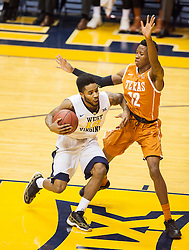 Jan 20, 2016; Morgantown, WV, USA; West Virginia Mountaineers guard Tarik Phillip (12) drives down the lane while guarded by Texas Longhorns guard Kerwin Roach Jr. (12) during the first half at the WVU Coliseum. Mandatory Credit: Ben Queen-USA TODAY Sports