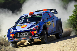 October 6, 2017 - Salou, Catalonia, Spain - The Spanish driver, Daniel Sordo and his co-driver Marc Marti of Hyundai Motorsport, jumping with his Hyundai i20, during first day of the Rally Racc Catalunya Costa Daurada, on October 6, 2017 in Salou, Spain. (Credit Image: © Joan Cros/NurPhoto via ZUMA Press)