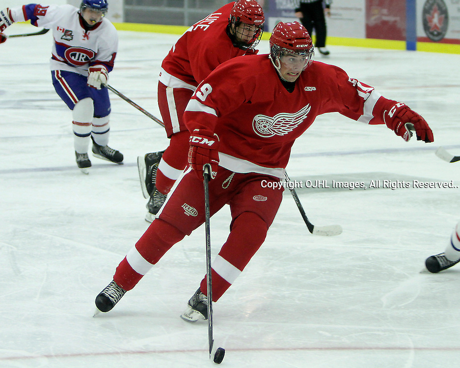 COBOURG, ON - Oct 14 : Ontario Junior Hockey League Game Action between the Toronto Jr. Canadian's and the Hamilton Red Wings at the Governors Showcase, Adam Brady #19 of the Hamilton Red Wings..(Photo by Brian Watts / OJHL Images)