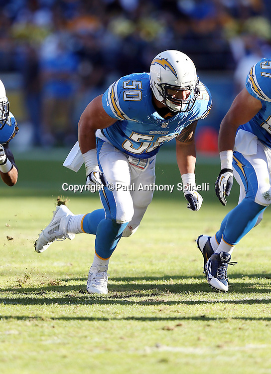 San Diego Chargers inside linebacker Manti Te'o (50) chases the action during the NFL week 13 football game against the Cincinnati Bengals on Sunday, Dec. 1, 2013 in San Diego. The Bengals won the game 17-10. ©Paul Anthony Spinelli