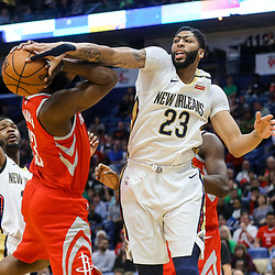 Mar 17, 2018; New Orleans, LA, USA; New Orleans Pelicans forward Anthony Davis (23) blocks a shot by Houston Rockets guard James Harden (13) during the first quarter at the Smoothie King Center. Mandatory Credit: Derick E. Hingle-USA TODAY Sports