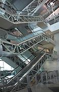 Escalators. Modern architecture design Francisco Sá Carneiro Airport Oporto, Porto, Portugal