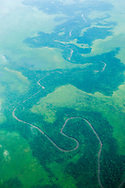 Aerial view of the Rio Coco river, Nicaragua.