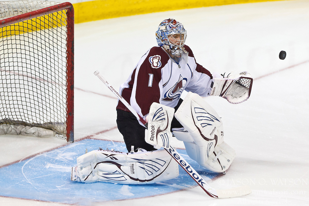 Mar 26, 2012; San Jose, CA, USA; Colorado Avalanche goalie Semyon Varlamov (1) warms up before the game against the San Jose Sharks  at HP Pavilion. San Jose defeated Colorado 5-1. Mandatory Credit: Jason O. Watson-US PRESSWIRE