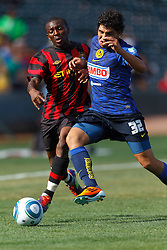 July 16, 2011; San Francisco, CA, USA;  Club America defender Erik Pimentel (32) and Manchester City midfielder Shaun Wright-Phillips (8) fight for a loose ball during the first half at AT&T Park. Manchester City defeated Club America 2-0.