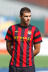 July 16, 2011; San Francisco, CA, USA;  Manchester City forward Edin Dzeko (10) during player introductions before the game against Club America at AT&T Park. Manchester City defeated Club America 2-0.