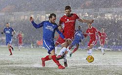 Jack Marriott of Peterborough United in action with Jon Guthrie of Walsall - Mandatory by-line: Joe Dent/JMP - 27/02/2018 - FOOTBALL - ABAX Stadium - Peterborough, England - Peterborough United v Walsall - Sky Bet League One