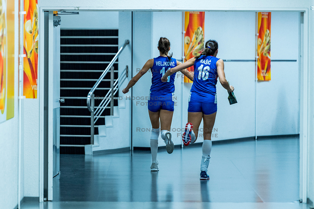19-10-2018 JPN: Semi Final World Championship Volleyball Women day 18, Yokohama<br /> Serbia - Netherlands / Celebrate Stefana Veljkovic #11 of Serbia, Milena Rasic #16 of Serbia after the mixed zone
